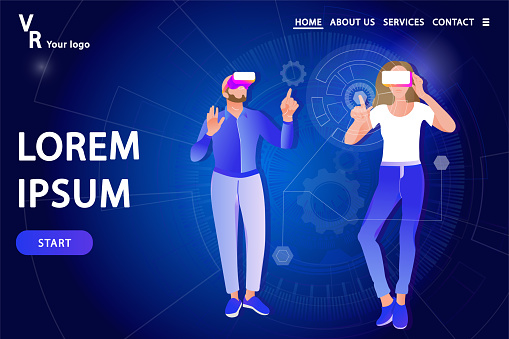 Man and woman in virtual reality glasses on a technology abstract background.