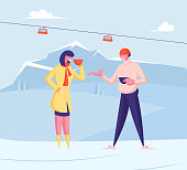 Man and Woman in Warm Clothes Drinking Hot Beverages on Mountain Landscape Background with Cable Road Funicular. People Having Rest on Ski Resort at Winter Holidays. Cartoon Flat Vector Illustration