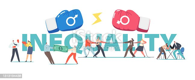 istock Man and Woman Inequality, Struggle Concept. Male and Female Characters Battle, Pulling Dollar Bill. Gender Competition 1313194438