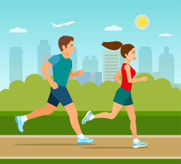 illustrations, cliparts, dessins animés et icônes de homme et femme jogging dans le parc. plate illustration vectorielle - running