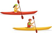 istock Man and woman kayaking. isolated 826175514