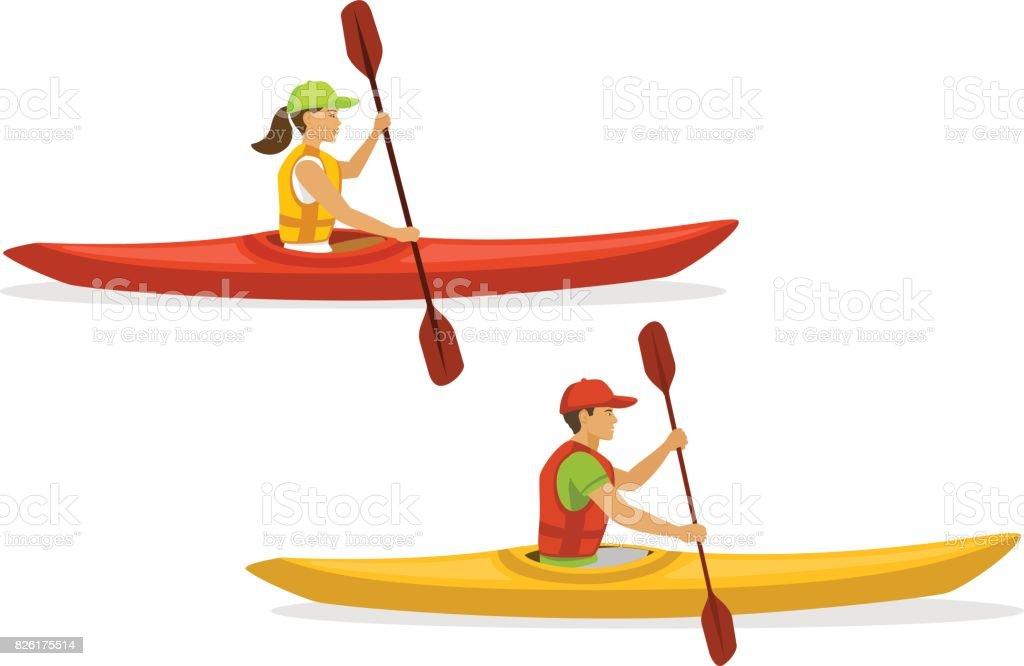 Hombre y mujer kayak. aislado - ilustración de arte vectorial