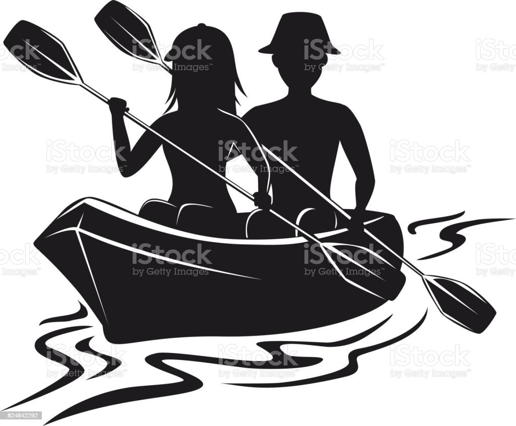 Man And Woman Kayaking Silhouette Front View Isolated Vector Illustration Royalty Free
