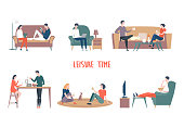 People at home leisure or recreation. Man and woman reading book, notebook. Couple drinking tea and cooking, Female talking and male watching TV. Family lifestyle and relaxation, together activity