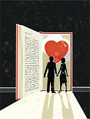 Love story! A stylized vector cartoon of a book in the shape of an open door with light streaming in and a Heart and countryside behind, the style is  reminiscent of an old screen print poster. Suggesting Love, Education, reading, escape, marriage,journey, or losing yourself in good book. Man,Woman, Book, countryside, heart, paper texture and background are on different layers for easy editing. Please note: clipping paths have been used,  an eps version is included without the path.