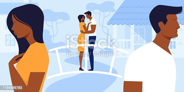 Man and Woman Love and Relations. Loving Couple Stand Back to Back being in Quarrel Remembering Sweet Life Moment of Loving Sparetime, Hugging and Kissing on Bridge. Cartoon Flat Vector Illustration.