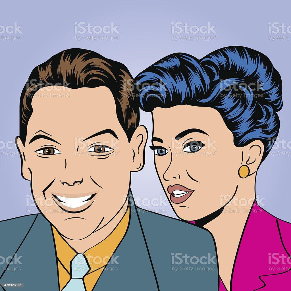 男性と女性のカップルもポップなアート漫画スタイル のイラスト素材