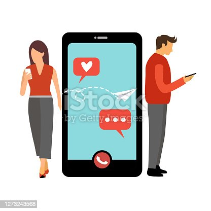 Man and woman make a video call. Long distance relationship between friends, loving couple or marriage husband and wife. Online talk on smartphone via internet. Online dating.