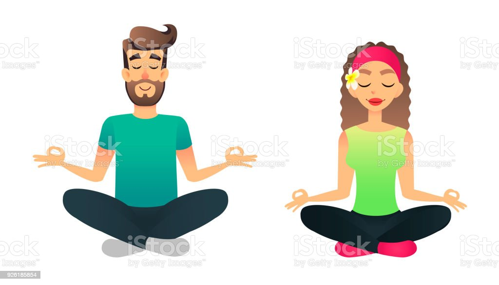 1bac688bc66a0 Man and woman meditate in lotus pose. Cartoon happy married couple  practicing yoga lesson. Young vector people doing yoga asana - Illustration  .