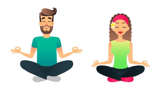 bildbanksillustrationer, clip art samt tecknat material och ikoner med man och kvinna meditera i lotus pose. cartoon happy gift par öva yoga lektion. ung vektor människor gör yoga asana - buddhism