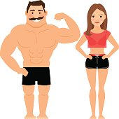 Man and woman muscular couple