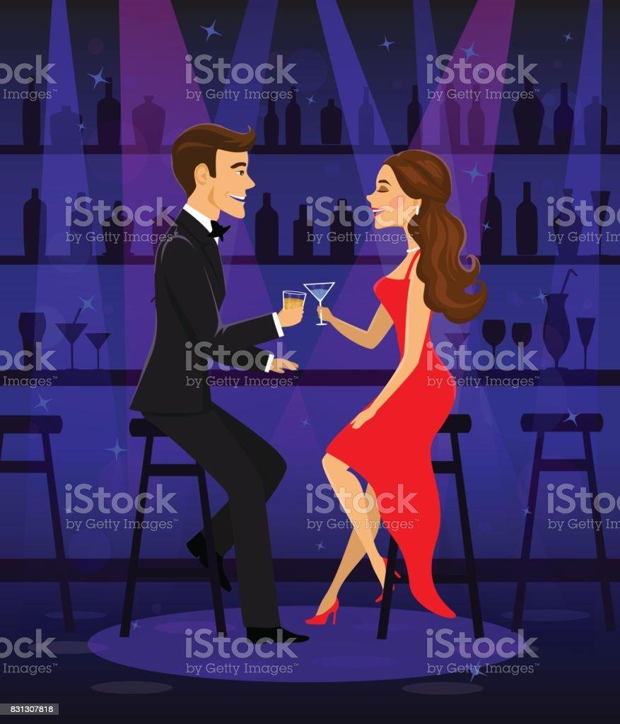 Ilustración de Hombre Y Mujer Noche Fecha Pareja Romántica Elegante ...