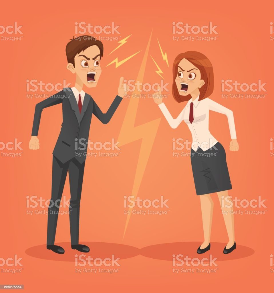 Man and woman office workers characters quarreling vector art illustration