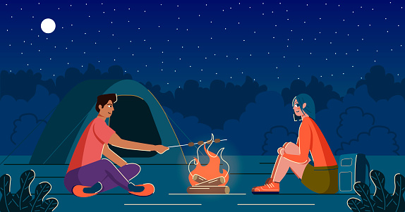 Man and woman on a campsite with a campfire and a tent. Man frying marshmallows on the wooden stick.