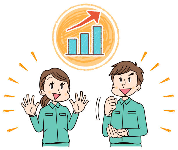 man and woman on work clothes see graph - グラフ stock illustrations