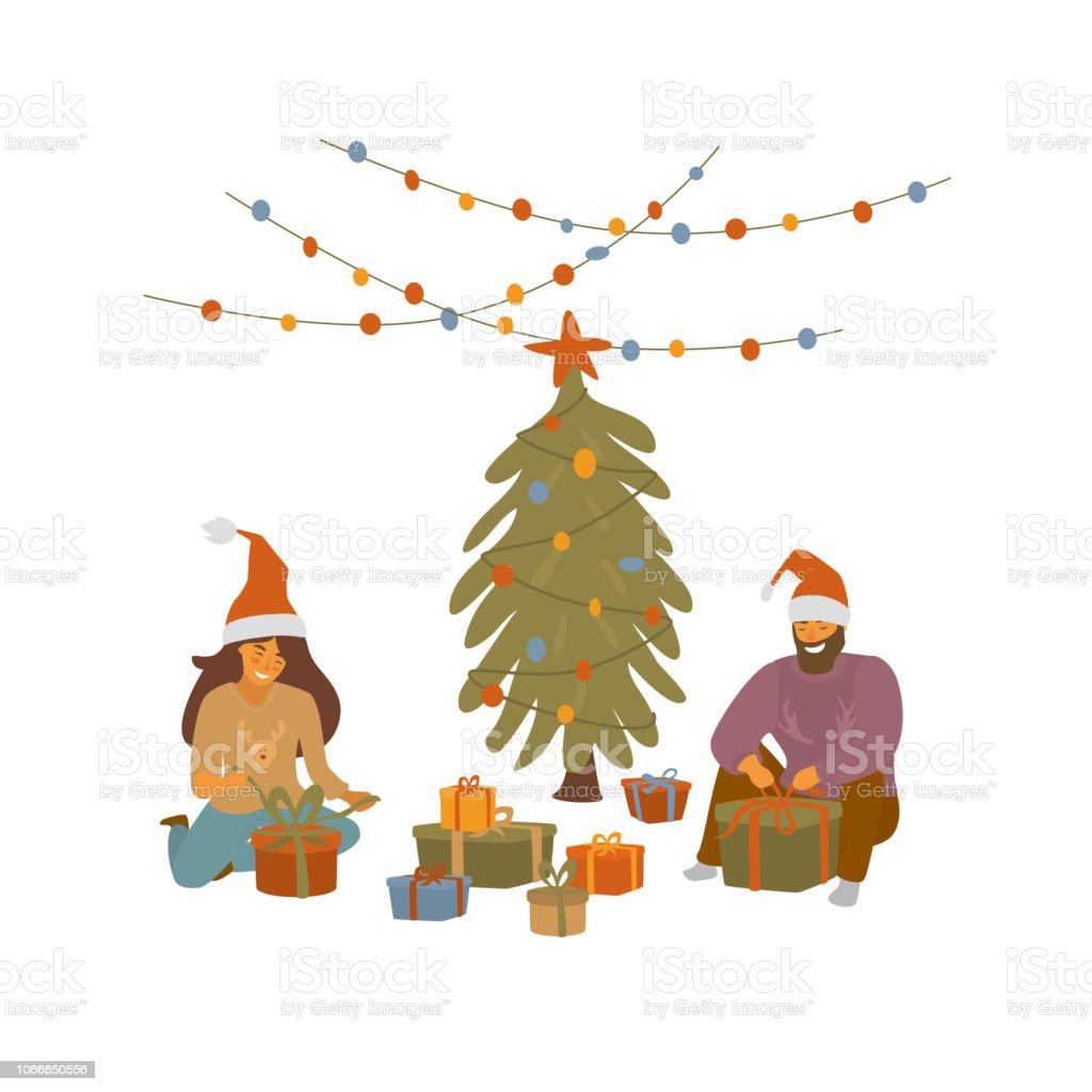 Weihnachtsgeschenke Für Mann Und Frau.Mann Und Frau Verpackung Weihnachtsgeschenke Xmas Feier Cartoon