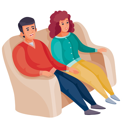 man and woman, perhaps husband and wife are sitting together on a large cozy sofa, isolated object on a white background, vector illustration