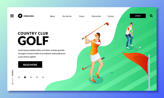 Man and woman playing golf on green field. Vector isometric illustration. Landing page or banner design template.