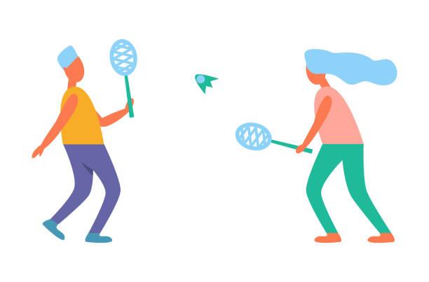 man and woman playing tennis vector illustration - badminton smash stock illustrations