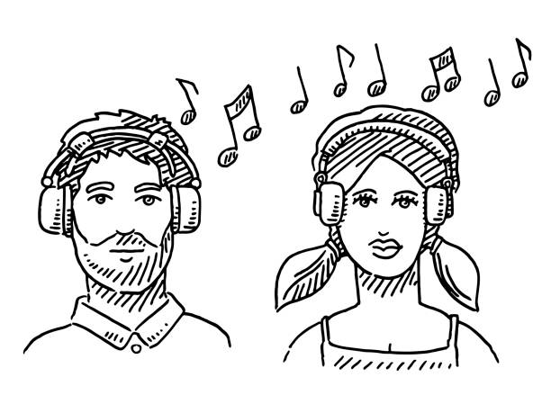 Man And Woman Portrait Headphones Music Drawing Hand-drawn vector drawing of a Man And Woman Portrait Listening Music With Headphones. Black-and-White sketch on a transparent background (.eps-file). Included files are EPS (v10) and Hi-Res JPG. women stock illustrations