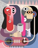 Man and Woman portrait - contemporary fine art vector illustration.