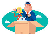 vector illustration of man and woman presenting in carton