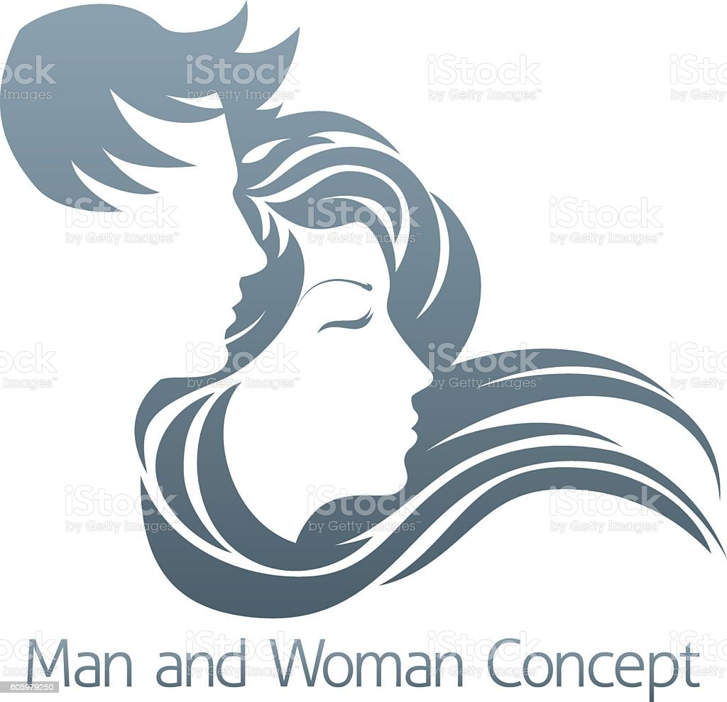 Man and Woman Profile Concept vector art illustration