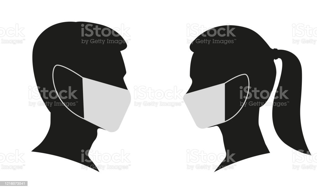 Man And Woman Profile Face Silhouette In Medical Mask Male And Female Head Illustration Vector Illustration Stock Illustration Download Image Now Istock