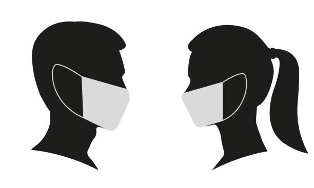 bildbanksillustrationer, clip art samt tecknat material och ikoner med man och kvinna profil ansikte silhuett i medicinsk mask. manlig och kvinnlig huvudillustration. vektorillustration. - face mask