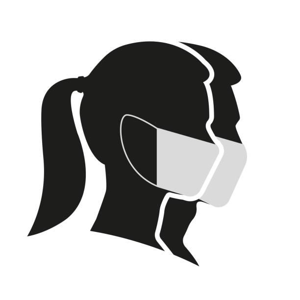 ilustrações de stock, clip art, desenhos animados e ícones de man and woman profile face silhouette in medical mask. male and female head illustration. vector illustration. - covid hair