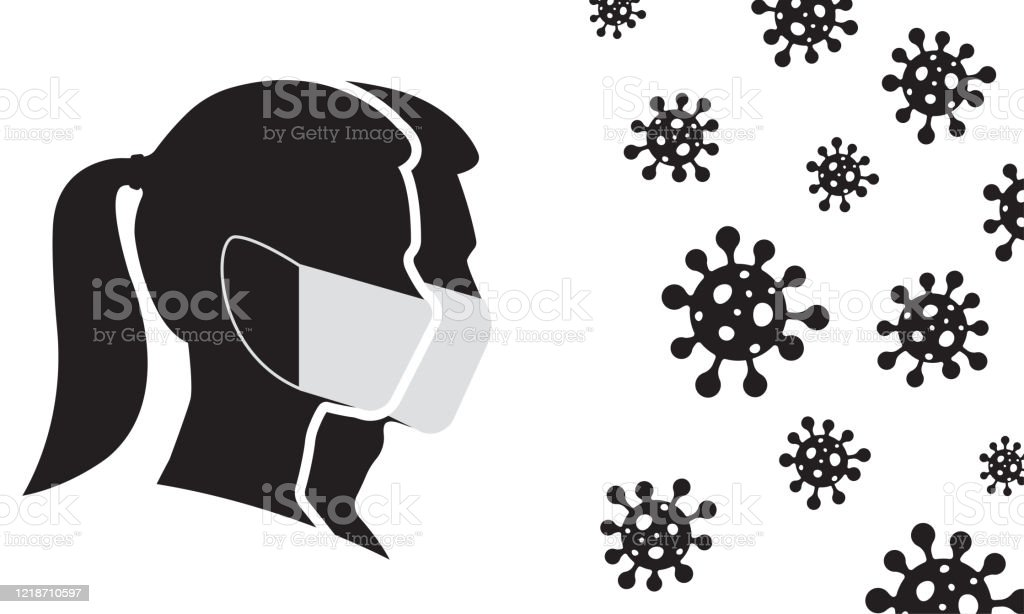 Man And Woman Profile Face Silhouette In Medical Mask With Virus Cell In The Air Virus And Flu Protection Coronavirus Prevention And Quarantine Concept Vector Illustration Stock Illustration Download Image Now
