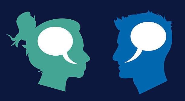 man and woman profile speech bubbles - two people talking stock illustrations, clip art, cartoons, & icons