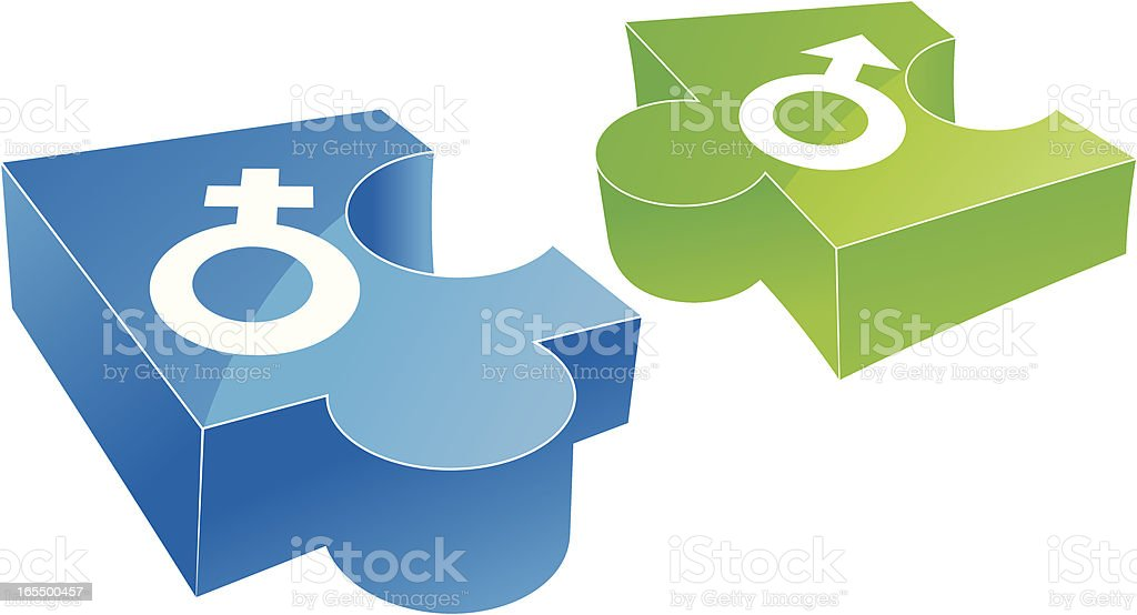 Man and Woman puzzle piece royalty-free stock vector art