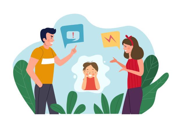 illustrazioni stock, clip art, cartoni animati e icone di tendenza di man and woman  quarreling and baby cries isolated. vector flat style illustration - divorzio