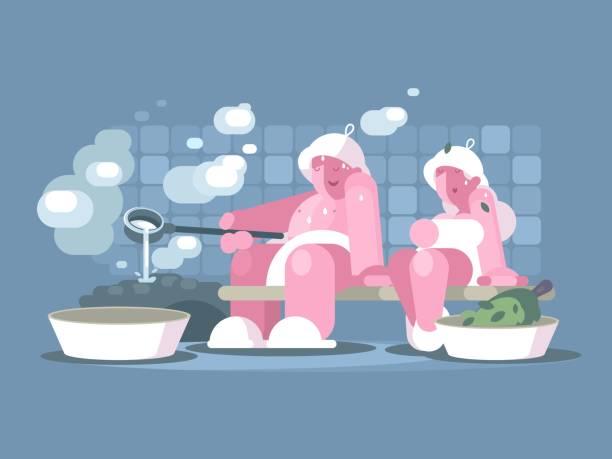 stockillustraties, clipart, cartoons en iconen met man en vrouw ontspannen in de sauna - sauna