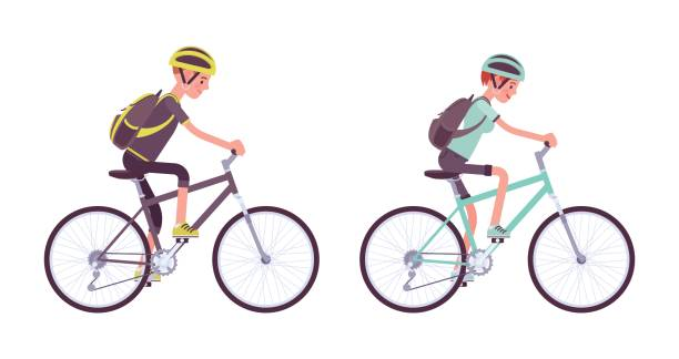 Man and woman riding a sportbike vector art illustration