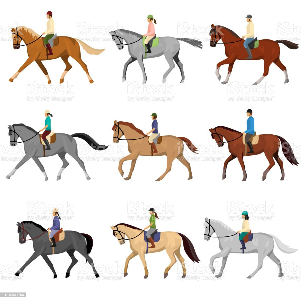 Man And Woman Riding Horse Isolated Against White Background Stock Illustration Download Image Now Istock