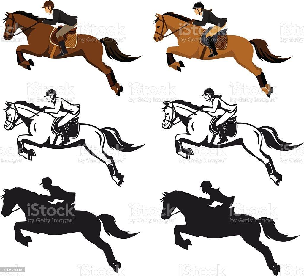 Man and Woman Riding Jumping Horse Set vector art illustration