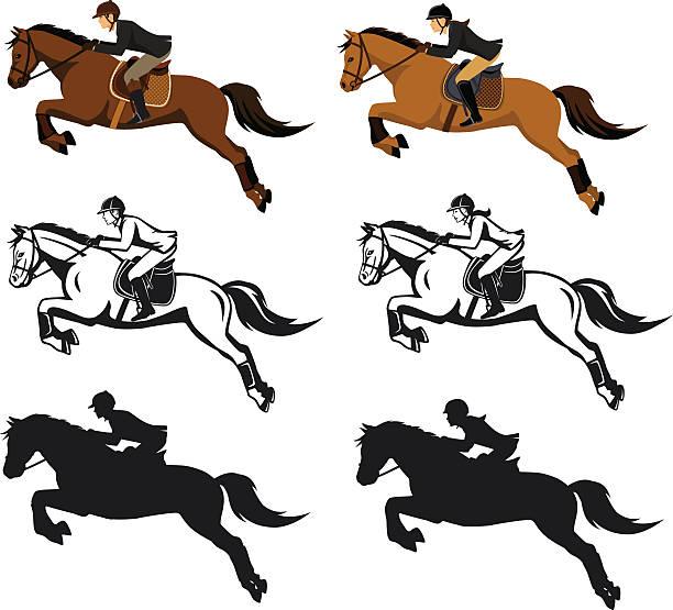 man and woman riding jumping horse set - 乗馬点のイラスト素材/クリップアート素材/マンガ素材/アイコン素材