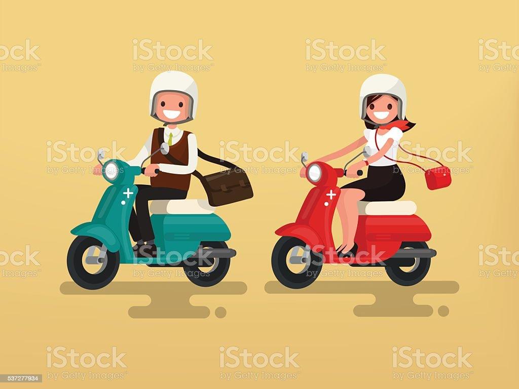 Man and woman riding on their motorbikes. Vector illustration vector art illustration