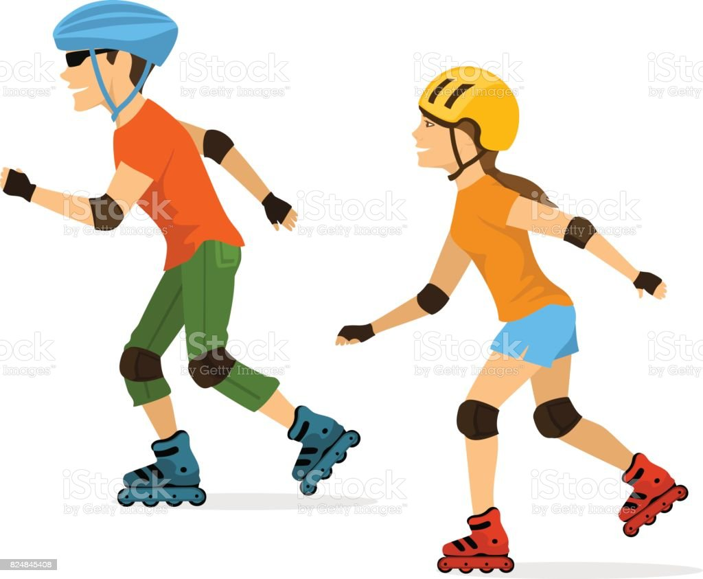 man and woman roller skating isolated vector art illustration