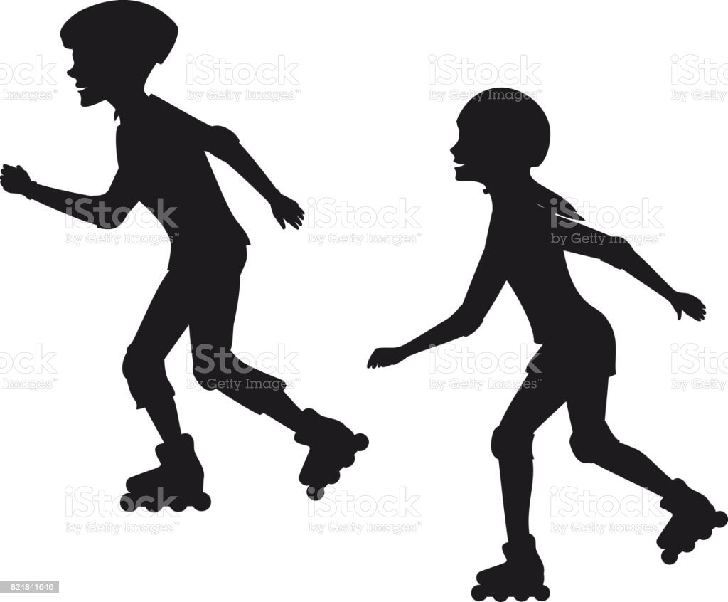 man and woman roller skating silhouettes vector art illustration