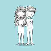 man and woman romantic couple cute hand drawn image