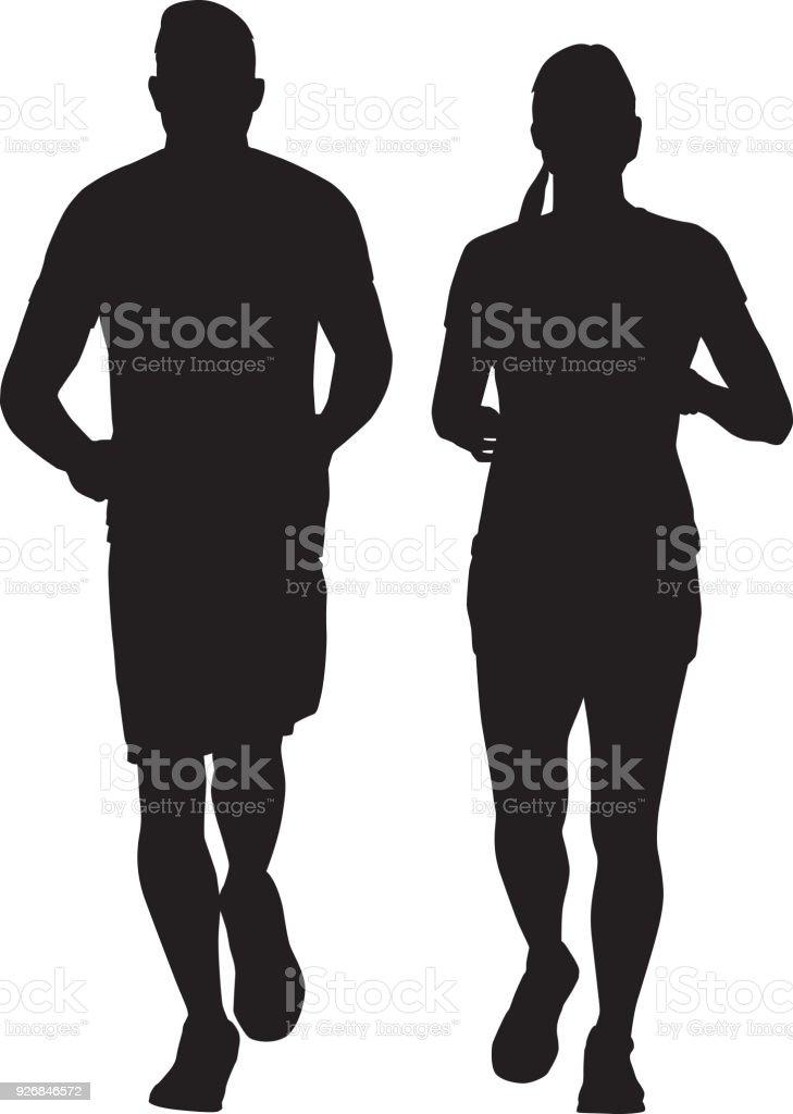 ilustração de homem e mulher juntos correndo silhueta e mais banco