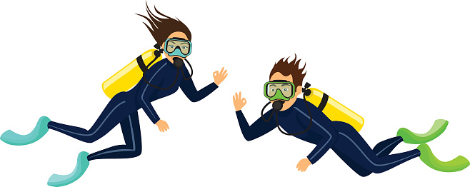 man and woman scuba diving isolated