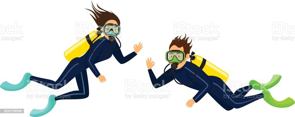 man and woman scuba diving isolated vector art illustration