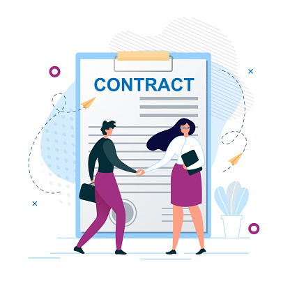 Man and Woman Shaking Hands Agree to Sign Contract