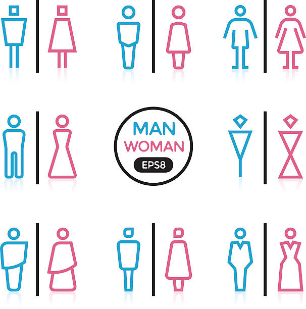Man and Woman sign outline stroke vector art illustration