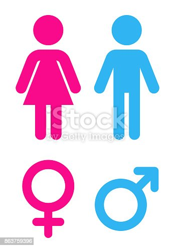 istock Man and woman - Sign toilet 863759396