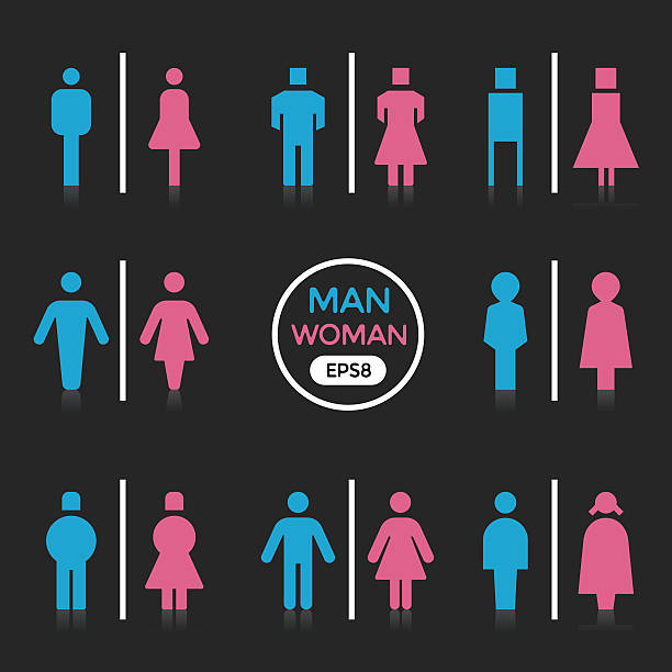 Man and Woman sign vector art illustration